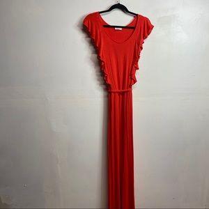 Calvin Klein ruffle front maxi dress orange red